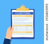 hand hold clipboard with claim...   Shutterstock .eps vector #1926825092
