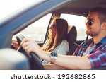 happy young couple in the car. | Shutterstock . vector #192682865