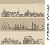 city set  london  paris  rome ... | Shutterstock .eps vector #192696326