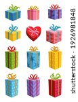 colored gift boxes with ribbon. ...   Shutterstock .eps vector #1926981848