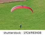 Paraglider Launching Wing On A...