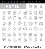 hotel service  simple thin line ... | Shutterstock .eps vector #1927041362