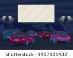 cartoon color drive in cinema... | Shutterstock .eps vector #1927121432
