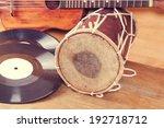 vintage acoustic guitar  vinyl...   Shutterstock . vector #192718712