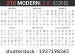 210 Modern Red Black Thin Line...