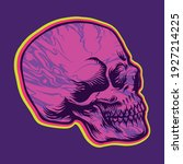 skull side hippie psychedelic...   Shutterstock .eps vector #1927214225