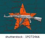 grunge AK 47 and star on wall - stock vector