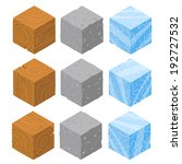 isometric game brick cubes set. ...