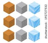 isometric game brick cubes set. ...