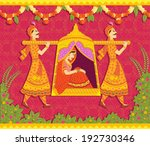lady in palanquin in indian art ... | Shutterstock .eps vector #192730346