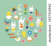 happy easter pattern with cute... | Shutterstock .eps vector #1927310942