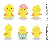 collection of cute chicks on... | Shutterstock .eps vector #1927310945