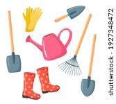 vector set of garden tools.... | Shutterstock .eps vector #1927348472