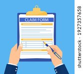 hand hold clipboard with claim...   Shutterstock .eps vector #1927357658