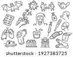 corona virus related hand drawn ... | Shutterstock .eps vector #1927383725