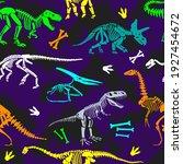 dinosaur skeleton seamless... | Shutterstock .eps vector #1927454672