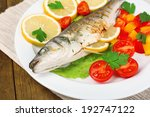 delicious grilled fish on plate ... | Shutterstock . vector #192747122