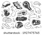 set of hand drawn meat doodle  | Shutterstock . vector #1927475765