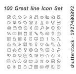 100 great line icon set vector
