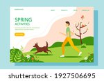 man running with the dog in the ... | Shutterstock .eps vector #1927506695