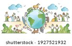 Biodiversity and environmental animal species protection outline concept. Various mammals wildlife preservation with natural habitat respect and care vector illustration. Global climate conservation.