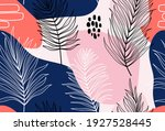 tropical palm leaves hand drawn ... | Shutterstock .eps vector #1927528445