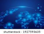 techno world planet. blue... | Shutterstock .eps vector #1927593635