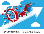 super businesswoman running and ... | Shutterstock .eps vector #1927614122