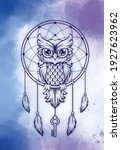 Dreamcatcher With Owl On Blue...