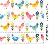 seamless of cute chicken... | Shutterstock .eps vector #1927624742