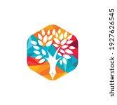 tree pen vector logo design... | Shutterstock .eps vector #1927626545