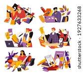 people working as copywriters... | Shutterstock .eps vector #1927633268