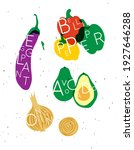 set of color vegetables with... | Shutterstock .eps vector #1927646288