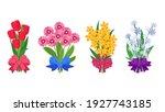 summer bouquets. cartoon... | Shutterstock .eps vector #1927743185