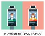 temperature screening kiosk and ... | Shutterstock .eps vector #1927772408