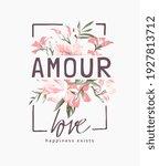 Amour Love Slogan On Pink...