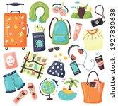 set of travel items for... | Shutterstock .eps vector #1927830638