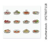 korean food color icons. set of ... | Shutterstock .eps vector #1927837118