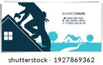roofer in helmet with tool on... | Shutterstock .eps vector #1927869362