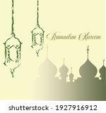ramadan kareem card design...   Shutterstock .eps vector #1927916912