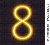 "bright neon yellow number ""8""...   Shutterstock .eps vector #1927918778"