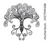 hand drawn tree silhouette.... | Shutterstock .eps vector #1927944188