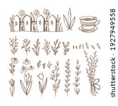 spring collection of hand drawn ... | Shutterstock .eps vector #1927949558