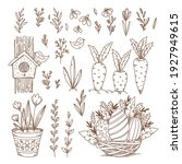 easter collection of doodle... | Shutterstock .eps vector #1927949615