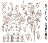 easter collection of hand drawn ... | Shutterstock .eps vector #1927949735