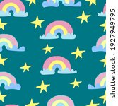 rainbow pattern with clouds and ... | Shutterstock .eps vector #1927949795