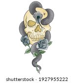 viper's den skull and human... | Shutterstock .eps vector #1927955222