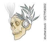 chilling human skull wearing... | Shutterstock .eps vector #1927956002