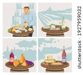 wine and cheese  degustation ... | Shutterstock .eps vector #1927959032