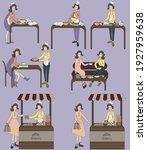 woman baking cookies  girls... | Shutterstock .eps vector #1927959638
